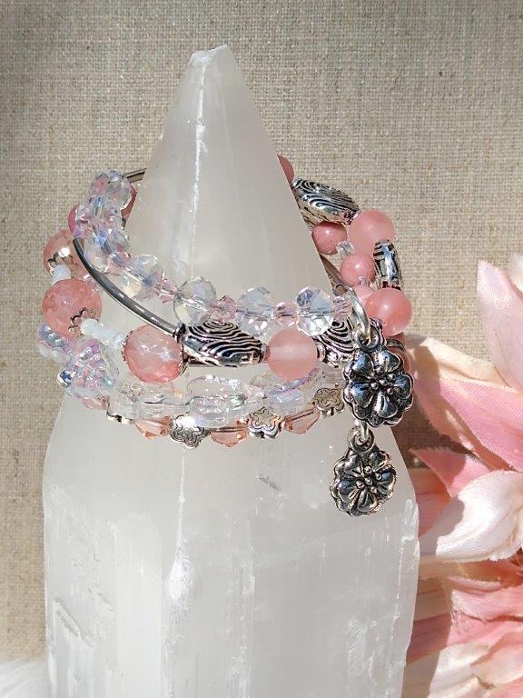Flower Gemstone Memory Wire Bracelet